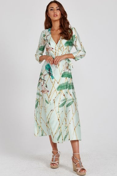 Mint Green Bird-Print Wrap Dress