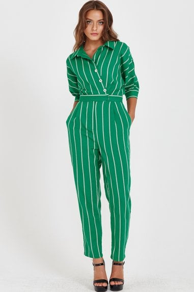 Liquorish Green Button up Jumpsuit
