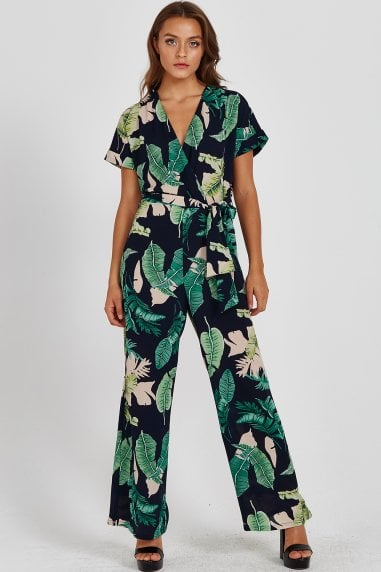 Liquorish Leaves Print Jumpsuit