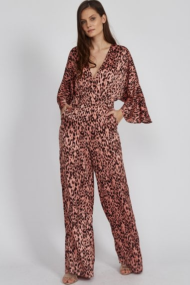 Liquorish Pink Animal Jumpsuit