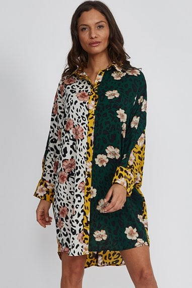 Floral Animal Mix Print Mini Shirt Dress