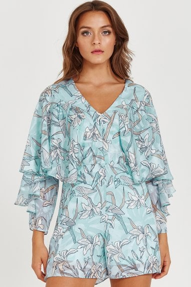 Liquorish Floral Blue Playsuit