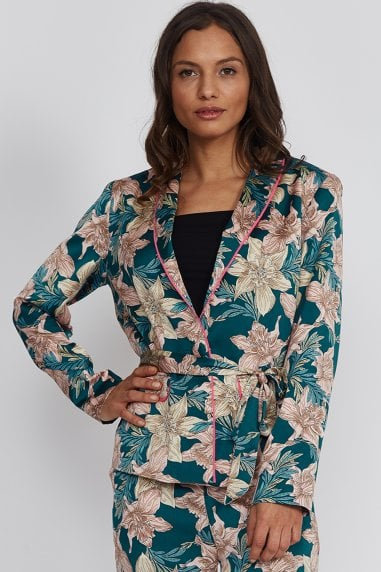 Green Floral Jacket With Hot Pink Piping