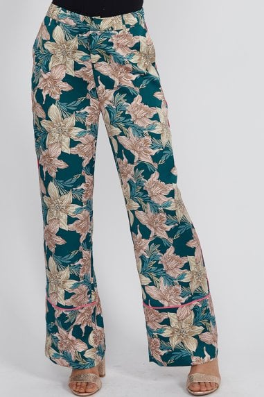 Green Floral Trousers With Hot Pink Piping