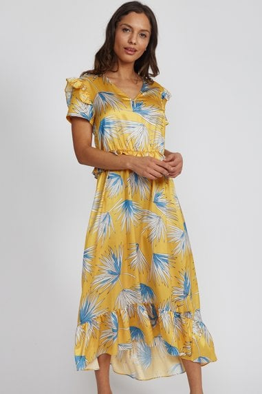 Yellow Leaves Frill Midi Dress