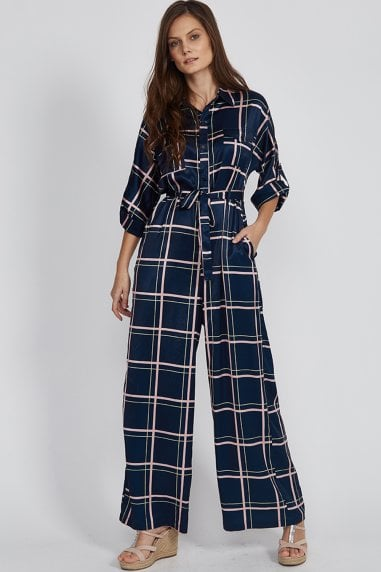 Navy Checks Jumpsuit