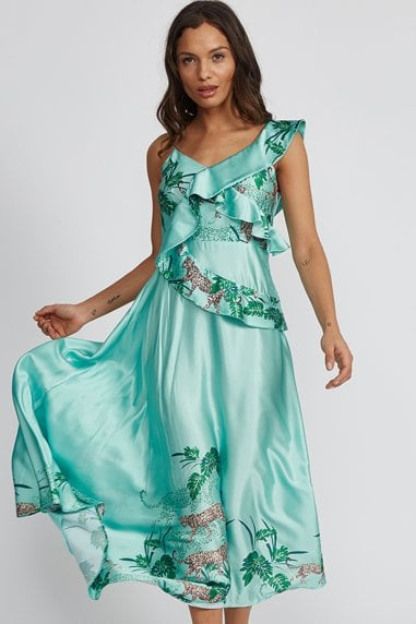 Mint Green Tiger Print Frill Midi Dress