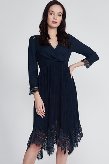 Navy Pleated Lace Hem Dress