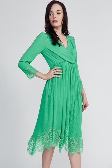 Green Pleated Lace Hem Dress