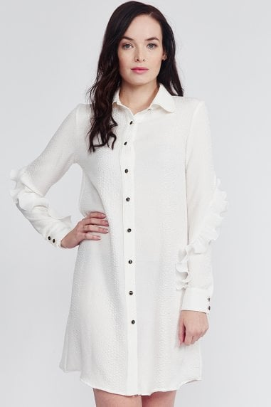 White Frill Sleeve Mini Shirt Dress