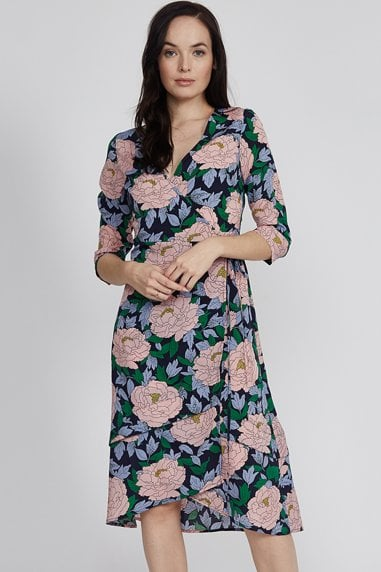 Navy Base Floral Print Wrap Midi Dress