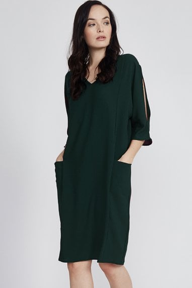 Dark Green Open Shoulder Midi Dress