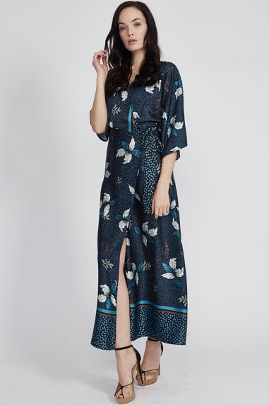 Navy Floral Polka Dot Hem Maxi Dress