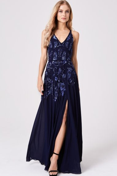 Rylie Navy Hand-Embellished Maxi Dress
