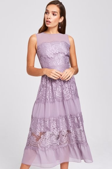 Paige Lavender Lace Midi Dress