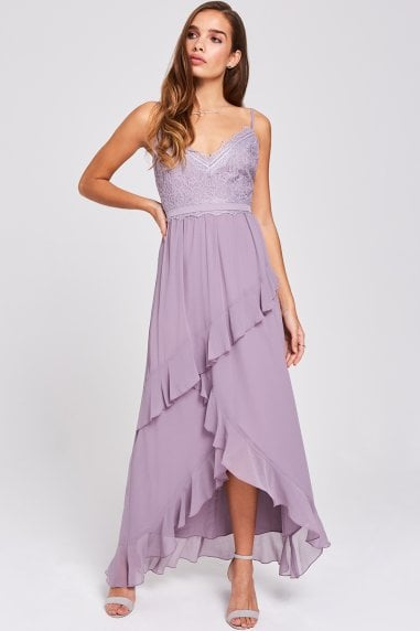 Paige Lavender Lace And Frill Maxi Dress