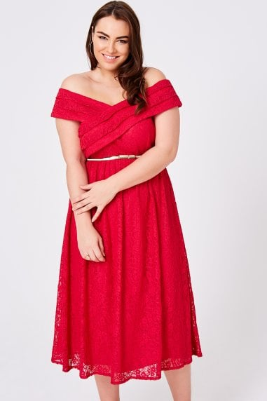 Jolie Cherry Lace Bardot Midi Dress