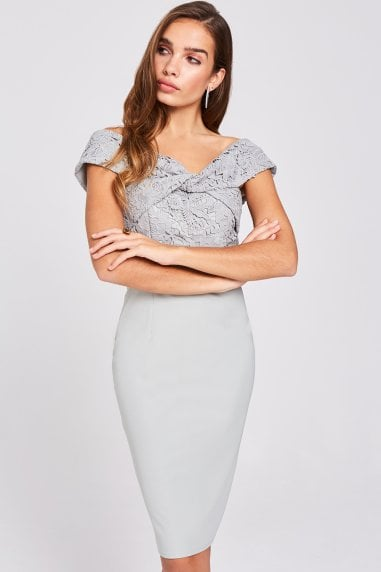 Lissa Waterlily Twist-Front Midi Dress