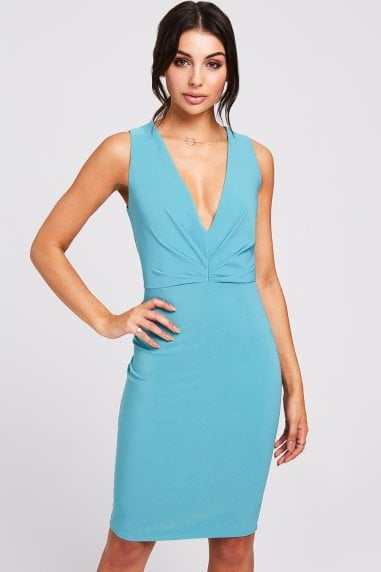 Cadiz Aqua Plunge Dress