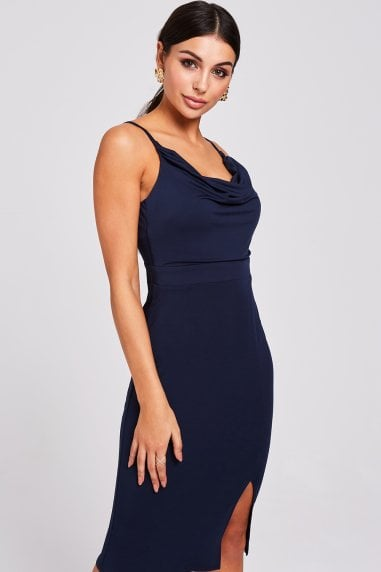 Solon Navy Cowl-Neck Dress