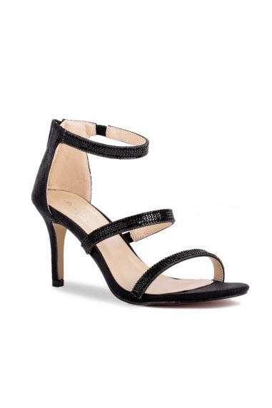 Sandro Black High Heel Crystal Detail Sandals