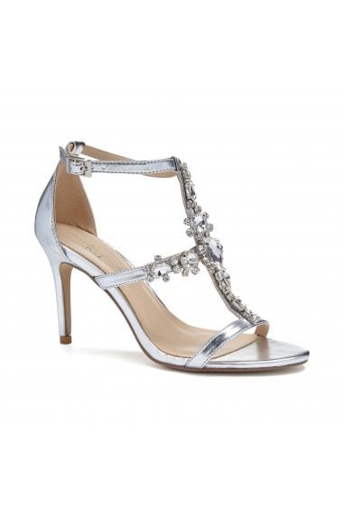 Stella Silver High Heel Cross Front Crystal Sandals