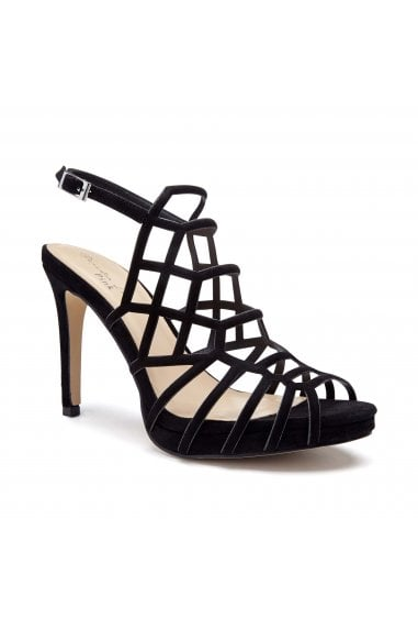 Stacia Black High Heel Platform Caged Sandals