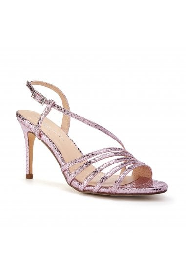 Hailey Pink High Heel Snake Print Caged Sandals