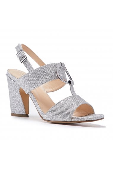 Harding Silver Glitter High Block Heel Sandals