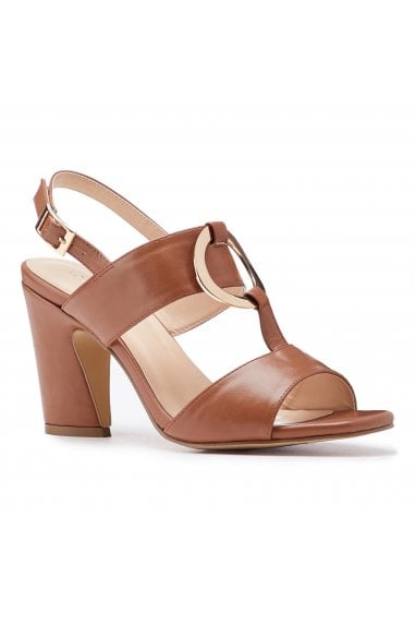 Harding Tan High Block Heel Sandals
