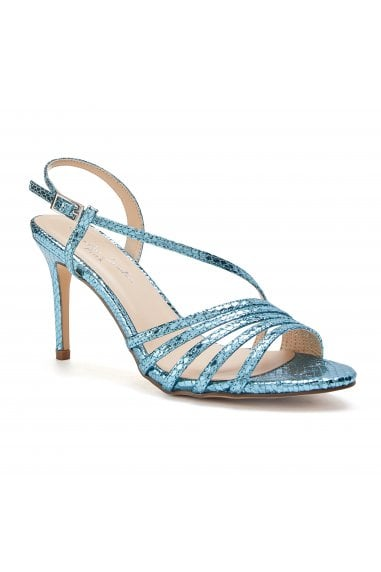 Hailey Turquoise High Heel Snake Print Caged Sandals