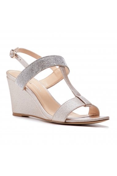 Jacey Champagne Low Heel H-Bar Wedges