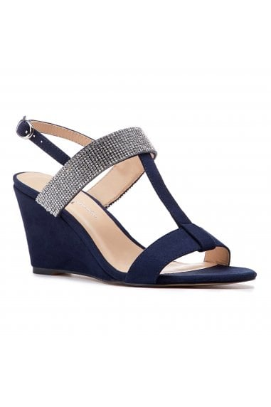 Jacey Navy Low Heel H-Bar Wedges