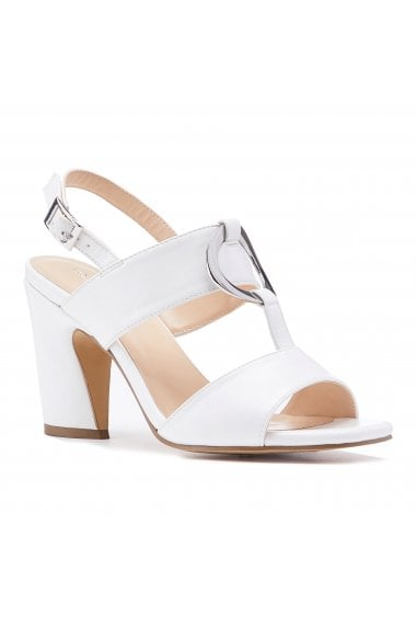 Harding White High Block Heel Sandals