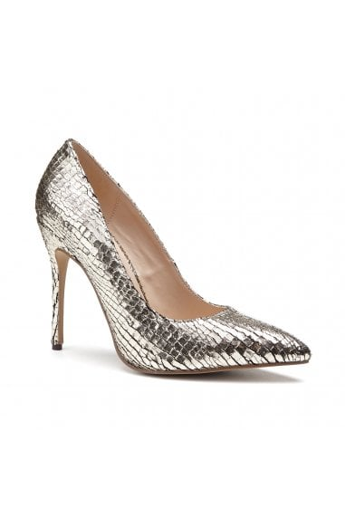 Cairo Gold High Heel Python Print Court Shoes