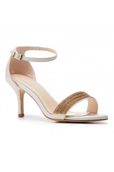 Hilma Wide Fit Champagne Low Heel Barely There Sandals