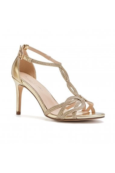 Hilton Gold High Heel Barely There Knotted Sandals