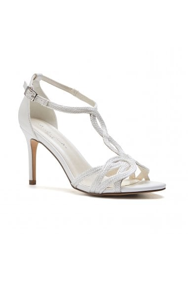Hilton White High Heel Barely There Knotted Sandals