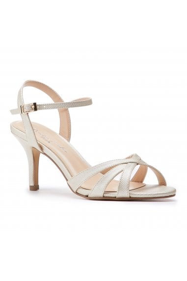 Hero Wide Fit Champagne Low Heel Strappy Sandals
