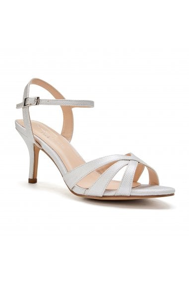 Hero Wide Fit Silver Low Heel Strappy Sandals