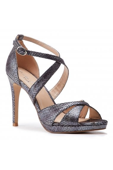 Levi Pewter High Heel Platform Cross Strap Sandals