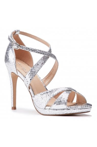 Levi Silver High Heel Platform Cross Strap Sandals