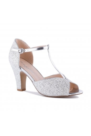 Quincy Silver High Heel T-Bar Peep Toe Shoes