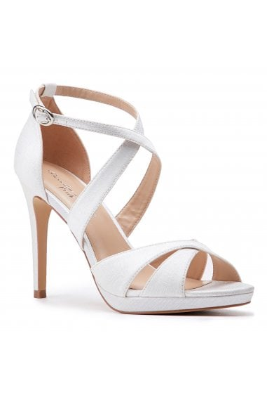 Louis Ivory High Heel Platform Cross Strap Sandals