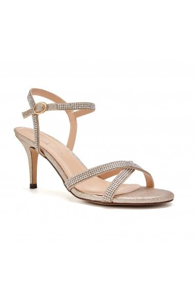 Riva Champagne Low Heel Ankle Strap Sandals