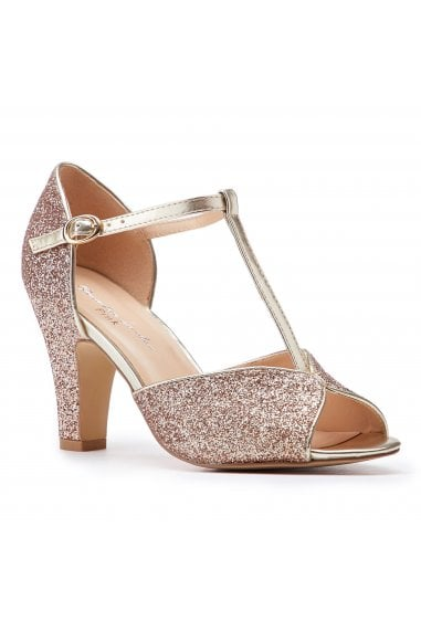 Quincy Champagne High Heel T-Bar Peep Toe Shoes