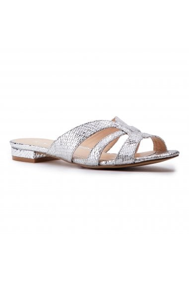 Sugary Silver Snake Print Cutout Sliders