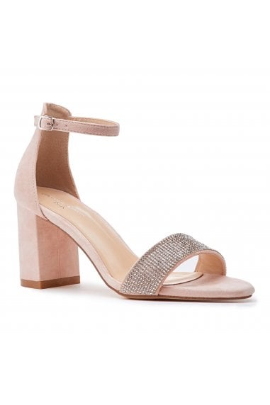 Vanna Nude Low Block Heel Barely There Sandals