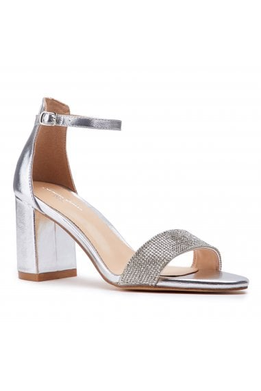 Vanna Silver Low Block Heel Barely There Sandals