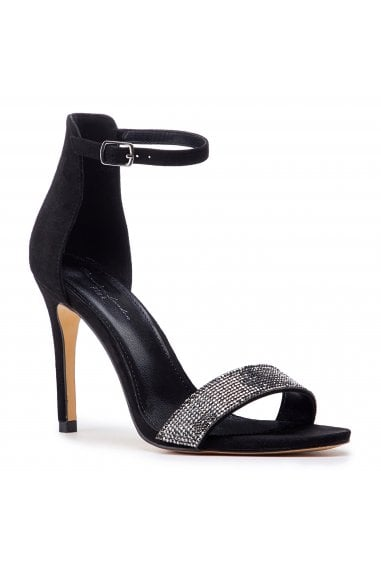 Vista Black High Heel Barely There Ankle Strap Sandals